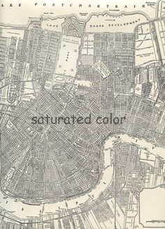New Orleans Map ORIGINAL Vintage 1940s City by SaturatedColor