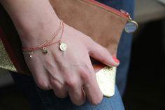 """Image of Bracelet """"pampilles"""" rose et doré."""