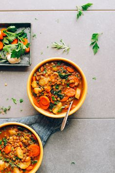 Delicious and EASY Everyday Lentil Soup! 10 wholesome ingredients, 1 pot, and 30 minutes! #vegan #plantbased #dinner #lentil #recipe #glutenfree #soup #minimalistbaker