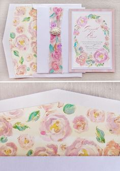Behind the Scenes � Artful Watercolor Rose Wedding Invitations on Green Wedding Shoes