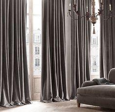 RH's Vintage Velvet Drapery:Woven by JB Martin, a family-owned… Grey Velvet Curtains, Brown Curtains, Silk Curtains, Yellow Curtains, Long Curtains, Curtains Living, Double Curtains, Striped Curtains, Burlap Curtains