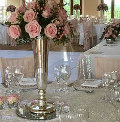 Sequin Tablecloth, Chair Covers, Pink Roses, Table Settings, Sequins, Table Decorations, Home Decor, Flowers, Art