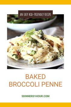 One Pan Baked Broccoli Penne Recipe Easy Dinner (30 Minutes) | Easy Healthy Recipes & Meals for Families - This one pan pasta is easy, healthy & creamy. With only 30 minutes of cooking time, this is one of the easiest weeknight dinner recipe ideas you'll make! Click through for the full one pan pasta recipe. 5 Dinners 1 Hour #easydinner #onepot #30minutemeal #easydinner #easyrecipe #healthyrecipes #healthydinner #mealideas #onepan #pastarecipe Penne Recipes, Easy Chicken Recipes, Easy Healthy Recipes, Easy Dinner Recipes, Delicious Recipes, Best Slow Cooker, Slow Cooker Recipes, Cooking Recipes, Cooking Time