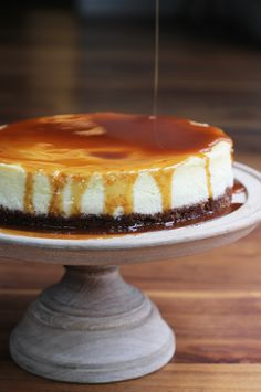 Ocean crusted cheesecake with salted bourbon caramel
