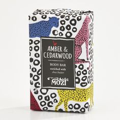 """MOZI_Body Bar_Amber-CedarwoodAustralian lifestyle brand Mozi has a beautifully illustrated collection of packaged soaps called """"Out of Africa"""" which make wonderful gifts for the home for art and design lovers alike. Scent selections include amber and cedarwood, peach and vanilla and emerald palm, giving your shower experience a little piece of Africa."""