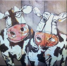 schilderij koeien steigerhout 40 x 40 cm