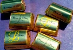 210 Gold Foil Monogram Wedding Candy wrappers/stickers/labels (Personalized Favors) by The Camera Depot. Save 50 Off!. $9.99. Fits Hershey's Nuggets or Treasures chocolates, Great for weddings or anniversaries, or any party!. 210 Self-Sticking Beautiful Gold Foil Monogram Candy labels/stickers/wrappers. Beautiful quality-gold foil material. *please know that candy is not included, this is for the gold foil labels only. Photo shows what chocolates will look like after you wrap...