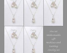 Custom Bridesmaid Gift Swarovski White Pearl by alexandreasjewels