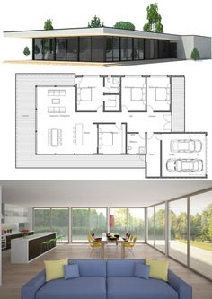 Contemporary home plan with simple lines and full wall height windows. Three bedrooms.