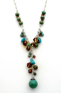 Sterling Silver Turquoise Lavalier Necklace Green Blue Amber Glass Crystal Bead