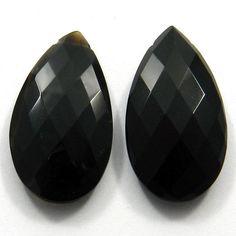 Excellent Natural Black Onyx 18x25mm Pear Briolette Loose Semi Precious Gemstone