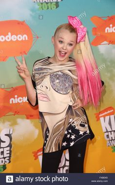 Download this stock image: Celebrities attend Nickelodeon's 2016 Kids' Choice Awards at The Forum.  Featuring: Jojo Siwa Where: Los Angeles, California, United States When: 12 Mar 2016 - FXB0X5 from Alamy's library of millions of high resolution stock photos, illustrations and vectors.
