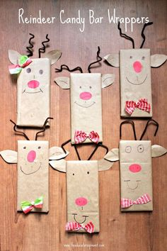 Reindeer Candy Bar Wrappers are a fun and easy gift for kids can make and give this holiday season using upcycled paper bags.