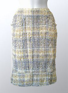 Authentic Chanel Jacket at prices up to off Retail. Chanel Outfit, Chanel Jacket, Chanel Fashion, Lace Skirt, Sequin Skirt, Couture Sewing Techniques, Tweed Pencil Skirt, Wrap Pattern, Skirt Fashion