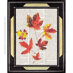 AUTUMN LEAVES art print on upcycled dictionary print book page art print  yellow orange red fall wall art 8x10 original collage. $10.00, via Etsy.
