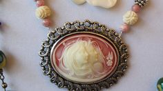 Beautiful Vintage Two Women Cameo Hand Carved Ox by LoveByNina, $28.00