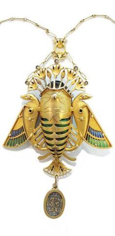 Gold pendant / translucent enamel / diamonds / scarab beetle naturalized and lava stone, Maison Auger, ca. 1900