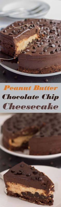 This peanut butter chocolate chip cheesecake is a piece of heaven. Indulgent, sweet and creamy. A mouthwatering chocolate biscuit base topped with delicious chocolate chips and peanut butter then finished with a velvety chocolate ganache! via @neilhealthymeal