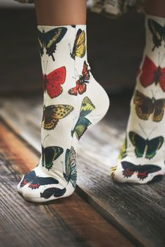 Butterfly Garden Party Crew Sock at Free People Clothing Boutique