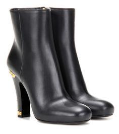 Prada Embellished leather ankle boots Black                 $139.00
