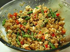 Quinoa & Chickpea Salad with Tomato Vinaigrette-- Would change veggies to fresh ones.. No canned veggies..