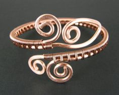 Comfortable Wire Wrapped Copper Bracelet Womens by BonzerBeads