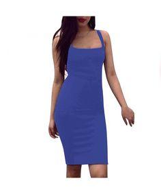 Women's Bodycon Midi Bandage Clubwear Party Evening Tank Dress Slit Back - Blue - Clothing, Dresses, Club & Night Out Tank Dress, Clubwear, Night Out, Women's Clothing, Clothes For Women, Gifts, Blue, Color, Dresses