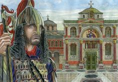 Varangian guardsman on the watch duty before Chalke(Bronze)gate of the Great palace of Constantinople.