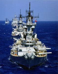 1980s US Navy battle line. Battleships USS New Jersey (BB-62) and USS Missouri (BB-63) and guided missile cruiser USS Long Beach (CGN-9).