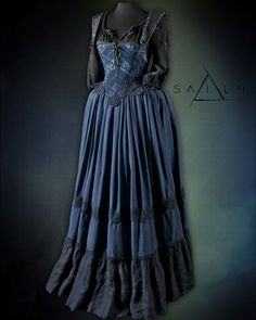 Tituba outfit with a linen skirt.  Bodice is made from one of my old vintage mens Kimono's.  Season 2.