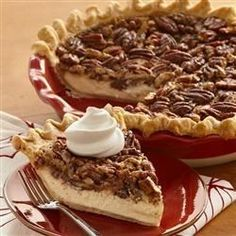 Cheesecake meets pecan pie in this smooth and decadent seasonal dessert. Sub crust for cinnamon bun crust.