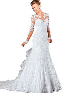 VERNASSA Sexy Mermaid Long Sleeves See Through Back with Buttons Lace Wedding Dresses