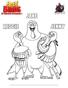 reggie jake and jenny coloring sheet