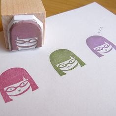 DIY Rubber stamp, I love how you can draw her facial expression each time. Could make it with my chibis, too.