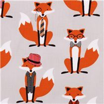grey hipster fox fabric Robert Kaufman Fox and Houndstooth