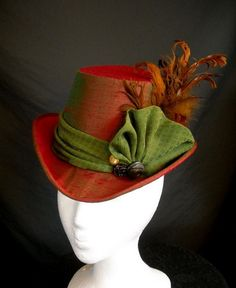 Victorian Ladies Top Hat Red & Green Silk by redthreaded on Etsy, $169.00