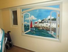 Hand painted trompe l'oeil style mural of a view through a window to a harbour scene with boats. This was painted in the bathroom of a care home to provide a view for the residents using the bath. Living Environment, Days Of The Year, Well Thought Out, Off The Wall, Home Projects, Your Favorite, Things To Come, Hand Painted, Murals