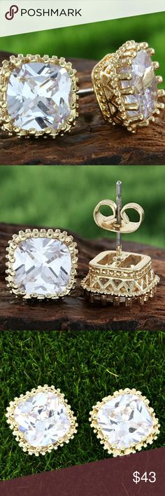 PRINCESS CUT WHITE SAPPHIRE STUDS TALK ABOUT EAR BLING! 5 CTW PRINCESS CUT WHITE SAPPHIRE SET IN 14K YELLOW GOLD-FILLED  FILIGREE STUDS WEIGHT IS APPROX 3.5 GRAMS AND MEASURE APPROX 10MM X 10MM WITH BUTTERFLY AND SILICONE BACKS includes black velvet gift box GLAMOURESQ Jewelry Earrings