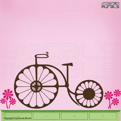 Wall decals DAISIES BICYCLE Surface graphics by decalsmurals