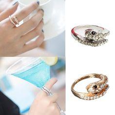 Sale 29% (2.16$) - Punk Gold Silver Rhinestone Snake Finger Ring For Women
