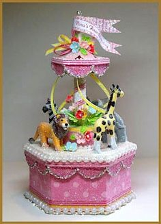 Pink Carousel Cake Topper by PatriciaMinishDesign on Etsy, $125.00
