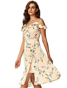 aeaaaf963b Noctflos Women's Floral Chiffon Summer Cold Shoulder Cocktail Party Midi  Dress Just Love It..