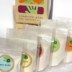 Finger Paint: Powder based exploratory finger paint handmade with natural and organic fruit, plant and vegetable extracts from annatto seed, beets, carrots, curcumin, purple sweet potato, red cabbage and spinach, flour, cornstarch, wheat paste and earth clay.