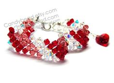 Simply Red Shade Swarovski Crystal Bracelet with silver clasp and red heart by CandyBead