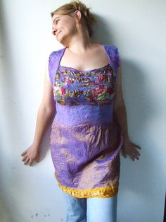 Nuno Felted Silk Dress or Top  with Back Lines  The by realfaery