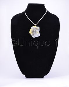 Yellow & Beige Fused Glass Necklace by Unique 1