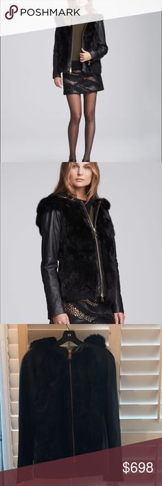 Nanette Lepore Galactic Jacket, Size Small. Nanette Lepore Galactic Leather Jacket with Hood and Authentic Rabbit Fur, Size Small. Never worn, NEW WITH TAG. Bronzed Gold Zippers down the front and on sleeves. Chic stylish way to stay warm this winter! Nanette Lepore Jackets & Coats