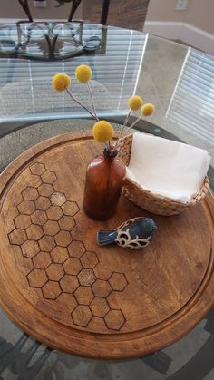 how to wood burn this honeycomb lazy susan
