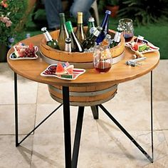 I could really use this outdoor beverage chiller table. #outdoorpartytable