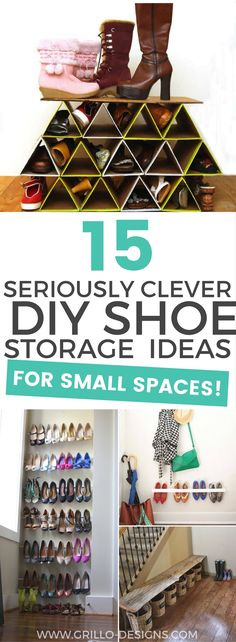 These 15 clever DIY shoe storage ideas for small spaces are both super affordable to make as well as very easy to put together / Grillo Designs www.grillo-designs.com